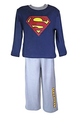 DC Comics Superman Langärmelige Schlafanzug Nachtwäsche in 2 Farben und 5 Größen (Alter 6, Navy Blue/Grey)
