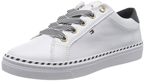 Tommy Hilfiger Damen Nautical LACE UP Sneaker, Weiß (White Ybs), 40 EU