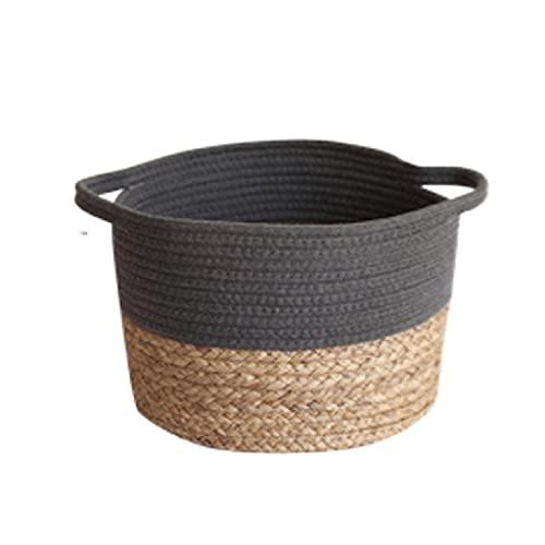 ZHUSHI Caja de Juguetes Lavable de Gran Capacidad, lavandería para el hogar con Asas, Canasta de Almacenamiento Tejida Independiente para el Suelo, Cuerda de algodón para Sala de Estar