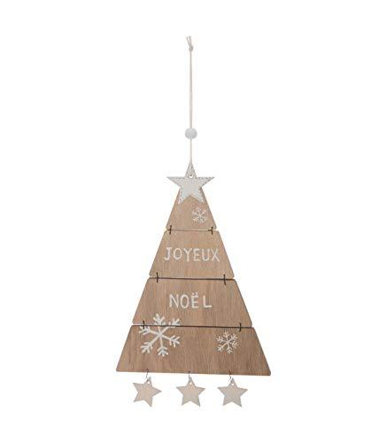 Féérie Lights & Christmas Décoration à Suspendre Sapin de Noël articulé - 12,5 x 25,5 cm - Marron