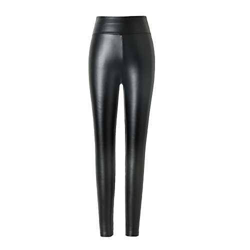 hitueu Damen Kunstleder Leggings High Waist Leggings Hose Strumpfhosen Treggins Leggins Kunstleder Leggings Leder Look Hüfthoch, Schwarz, L