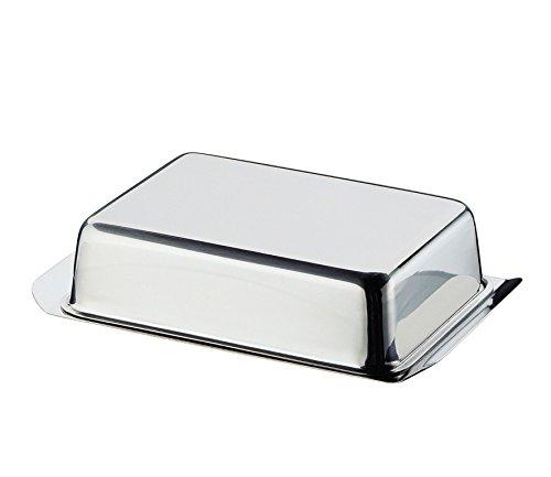 Cilio Butterdose, Edelstahl, Silber, 16 x 10,4 x 4,2 cm