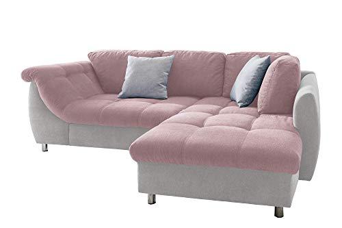 lifestyle4living Ecksofa mit Schlaffunktion in Rosa/Hell-Grau mit großen Rücken-Kissen, Microfaser-Stoff | Gemütliches L-Sofa mit Longchair im modernen Look