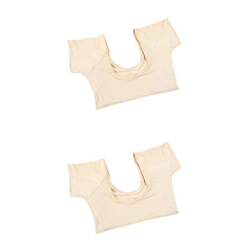 Bonarty 2 Pack Reusable Sweat Guard Underwear Vest Washable Underarm Sweat Pads Shields Sweat-proof Armpit T Shirt for Women Girls Ladies