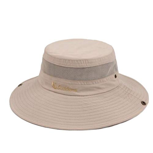 zwbaobei Fisherman Outdoor Mesh Safari Cap Large Brim Round Camping Sun Hats for Men Randing Sun Cap H35, Beige