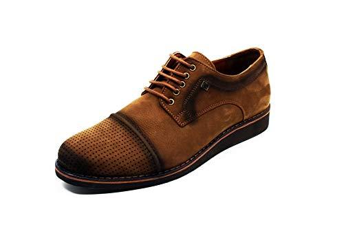 KYZER - Scarpe in pelle fatte a mano, da uomo, per abbigliamento casual e casual, con portachiavi, Marrone (marrone), 41 EU