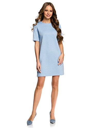 oodji Collection Damen Gerades Kleid aus Strukturiertem Stoff, Blau, DE 38 / EU 40 / M