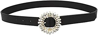 MYCHOMEUU New Glass Drill Japanese Word Buckle Diamond Female Fashion Belt Wild Belt (Size : 100cm)