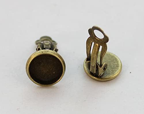 30PCS Antiqued Bronze 10mm Cabochon Settings Clip on Earrings #22960