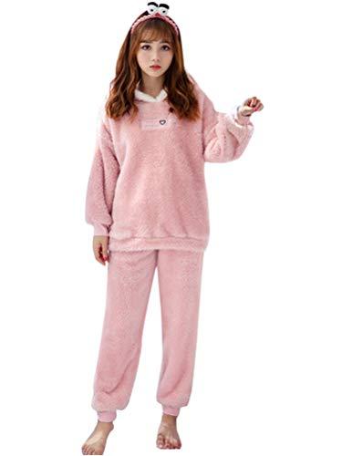 Minetom Damen Mädchen Herbst Winter Pyjama Schlafanzug Set Flanell Zweiteiliger Langarm Nachtwäsche Süßes Tier Kaninchen Warm Plüsch Kapuzenpullover und Hosen A Rosa 40