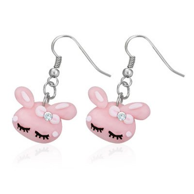 Boucles d'oreilles style manga tete de lapin rose