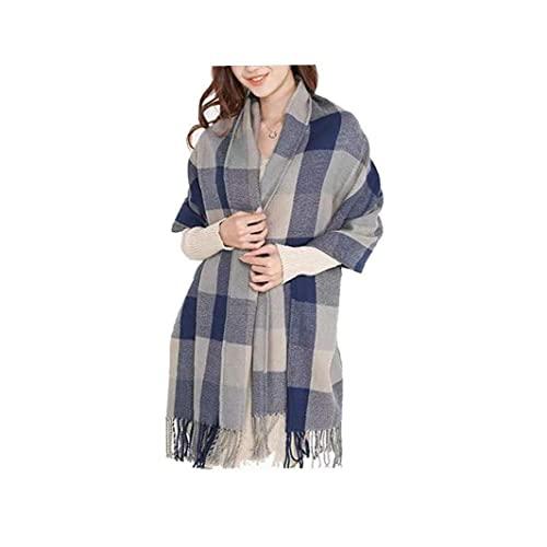 Invierno largo suave tartán de tarrones cálidos cheque bufandas envolturas para las mujeres lanas spinning borla mantón largo estollo azul y gris adecuado para la decoración del hogar