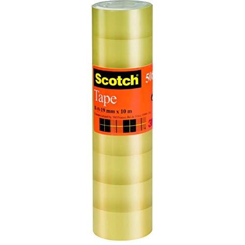 Scotch Nastro Adesivo 3M, Trasparente Acrilico,, Confezione Torretta da 8 Pezzi