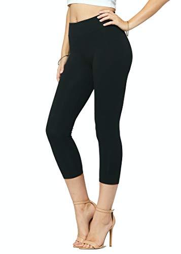 Premium Ultra Soft Stretch High Waisted Cotton Leggings for Women with Yoga Waistband - Capri Length Solid Black - Medium