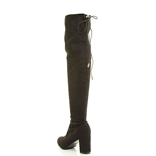 Women Fashion Suede Block Heel Over the Knee Boots (8)