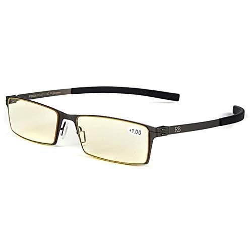 Gafas De Lectura Anti-Azules con Filtro Amarillo Claro, Gafas Portátiles De Montura Pequeña, Lector Anti-Fatiga para Hombres Y Mujeres,Gun Color,+1.00