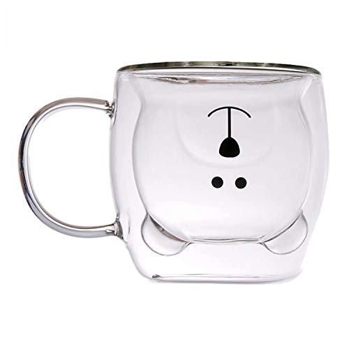 Cute Mugs Bear Cup Milk Couple Tea Glass Coffee Mugs Valentine's Day Creative Romantic Birthday Gifts for You(White)