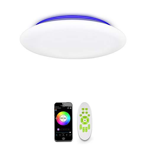 OFFDARKS LED Lámpara de techo compatible con Amazon Alexa y Google Assistant, lámpara de techo WiFi para sala de estar, habitación de niños, brillo ajustable, luz de color, aplicación y control remoto