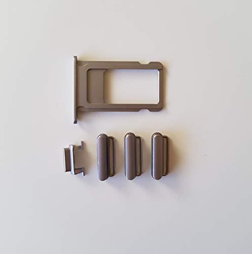 Smartex Boton Lateral Negro + Bandeja por Tarjeta SIM Compatible con iPhone 5G / Tecla por Power ON Off, Volumen, Mudo