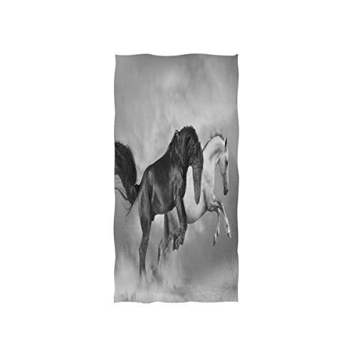 Rode handdoek washandjes washandjes 30 x 15 inch van Hotel Spa Gym Sport 3D zacht zwart-wit paard