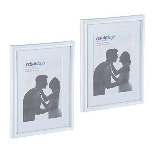 Relaxdays Bilderrahmen 2er Set, 13x18 cm, Passepartout 9x13 cm, Glasscheibe, Fotorahmen zum Stellen & Hinhängen, weiß