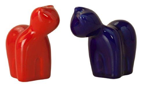 Salzstreuer: Die gemütlichen Katzen, dunkelrot/dunkelblau