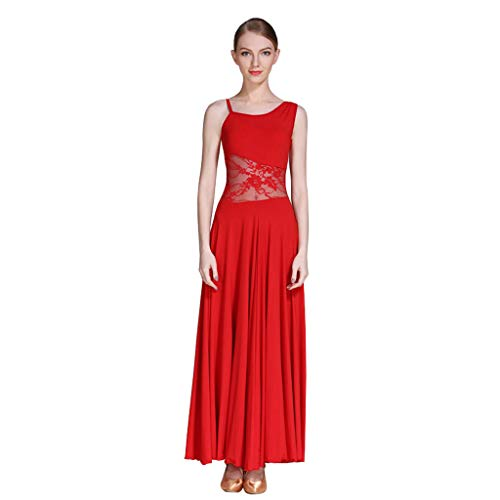 LRR Vestido De Baile Moderno Sling Sin Mangas, Escote Asimétrico Costura De Encaje Ropa De Baile De Salón Falda Tipo A (Color : Red, Tamaño : Metro)