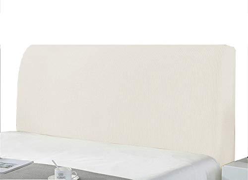 Bett Kopfteil Bezug Schonbezug Schutz Polyester Strecken Einfarbig Staubdichte Abdeckung Für Schlafzimmer Am Bett Dekorative Schutzvorrichtungen (120-140cm,Weiß)