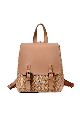 Ulisty Damen Stroh Rucksack Klein Gewebte Tasche Sommer-Strandtasche Beiläufig Tagesrucksack Mode Schultertasche Handtasche Khaki
