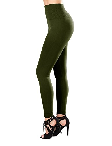 SATINA Fleece Lined Leggings - High Waisted Slimming Thick Tights - Many Colors (One Size (High Waist), Olive)
