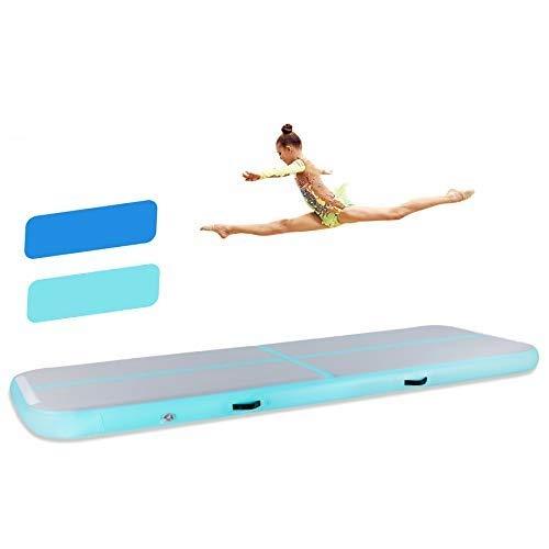 HIRAM Tappetino da Ginnastica Gonfiabile in PVC Air Track Pista Tumbling Materassino Aria Fitness per Yoga Taekwondo Spessore 20cm (Verde e Bianco, 400 x 100 x 20cm)