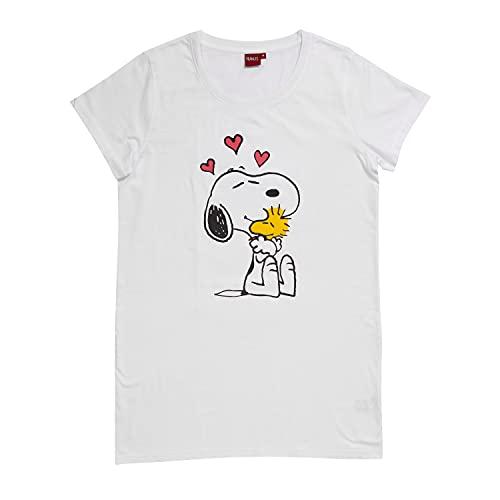 United Labels Peanuts Snoopy Damen Schlafshirt Nachthemd Pyjama Kurzarm Oberteil Weiß - L