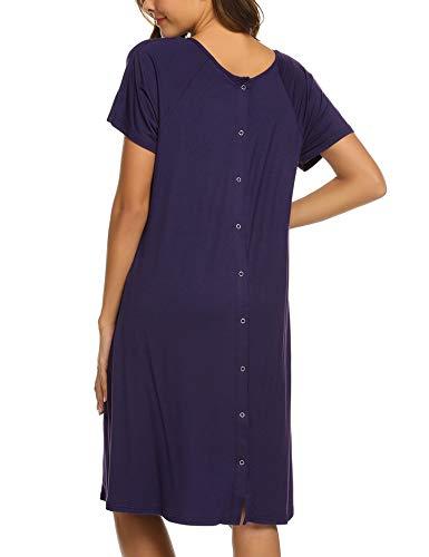 Ekouaer Women's Maternity Dress Nursing Nightgown Breastfeeding Short Sleeve Hospital Dress(Dark Purple,XL)