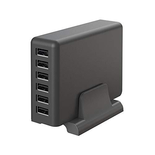 MOTTERU (モッテル) AC充電器 USB 6ポート 60W スタンド付き 急速充電 6台同時充電 日本メーカー 2年保証 スモーキーブラック MOT-AC60U6-BK