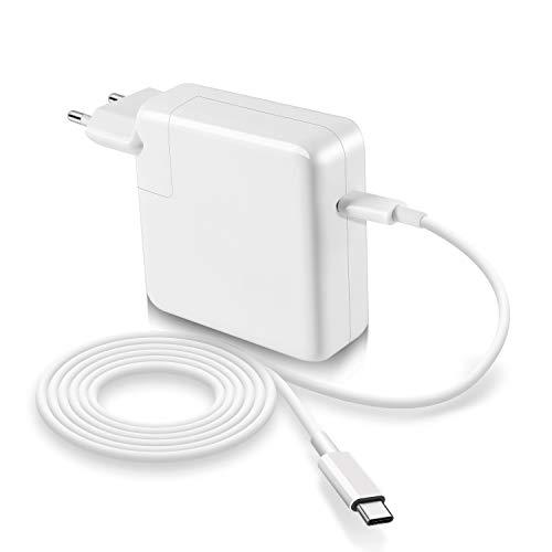 ZIMER Compatible con Mac Book Pro 61W 11/13 Pulgadas USB C Cargador 2016 2017 2018 2019 y tabletas para teléfonos Inteligentes con Puertos Tipo C, con Cables de Cargador 2M C-USB-C