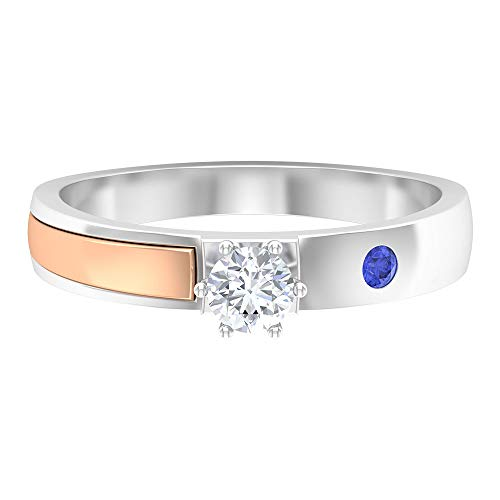 Rosec Jewels 10 quilates oro blanco redonda round-brilliant-shape H-I Blue Diamond Tanzanite