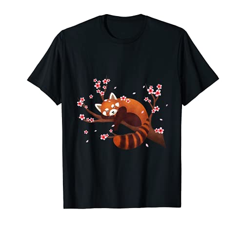 Vintage Red Panda Japanese Kirschblüte Flower Blume T Shirt