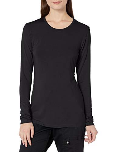 Cherokee Women's Long Sleeve Knit Shirt, Black, X-Large