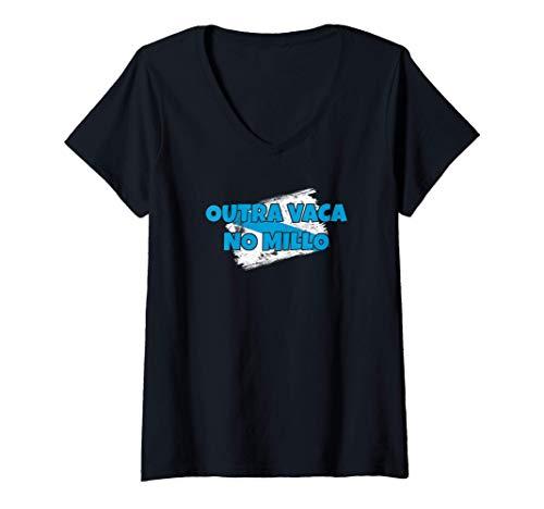Mujer Outra Vaca No Millo Regalos Frases Gallegas Bandera Galicia Camiseta Cuello V