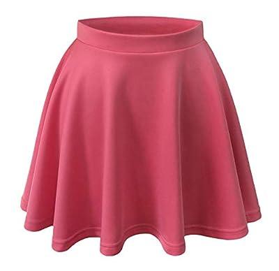 L2b Women's Basic Casual Skater Skirt, Flared Versatile Stretchy Mini Essential Skirt, Soft Comfortable, Elastic Waist