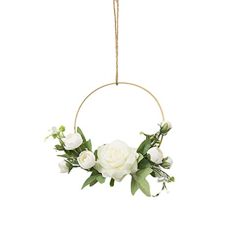 XQK Ghirlande Floreali A Cerchio d'oro, Appeso A Parete Fiore Artificiale Cornice Rotonda Ghirlanda di Rose Rosa per Decorazioni Floreali Fai da Te Artigianato Decorazioni di Nozze (Bianca)