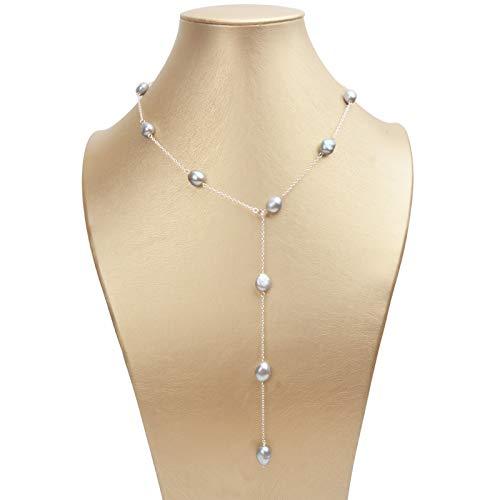 SALAN Collar De Cadena Larga De Plata De Ley 925 8-9mm Barroco Natural Freah Joyería De Perlas De Agua para Mujeres Regalo De 60cm