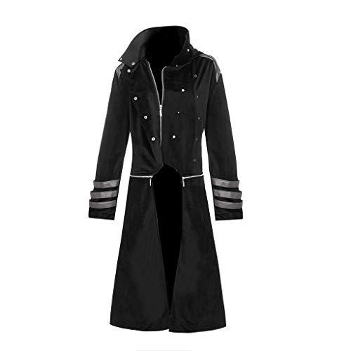 iHENGH Damen Herbst Winter Bequem Lässig Mode Frauen Gothic Steampunk Hooded Trench Party Kostüm Frack Langarm Jacke(Schwarz, M)