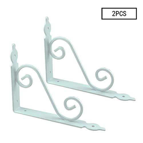 Paar van grote Victoriaanse gietijzeren wandplanken steunen steunen, Heavy Duty Ornate Vintage Scroll Design Gietijzeren muurbeugels voor huis en tuin.