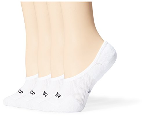 Starter Women's 4-Pack Athletic Cushion Invisible Liner Socks, Amazon Exclusive, White, Medium (Shoe Size 5-9.5)