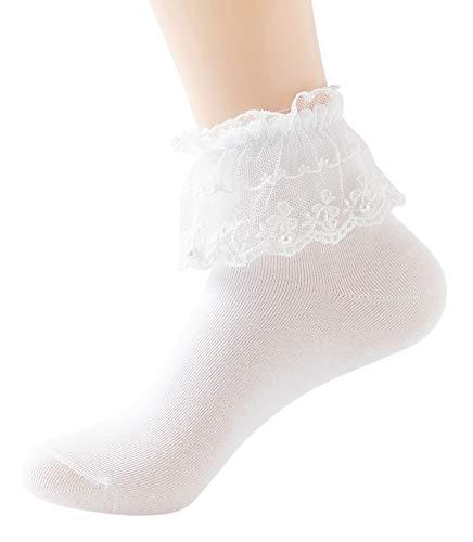 YASIDI Women Ankle Socks,Pearl Lace Ruffle Frilly Cotton Socks Princess Socks Lace Socks Cute Socks (1 Pairs, White)