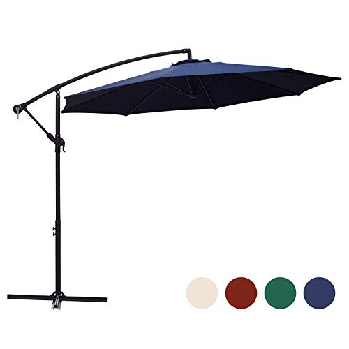 KINGYES 10ft Patio Offset Cantilever Umbrella Market Umbrellas Outdoor Umbrella with Crank & Cross Base for Garden, Deck,Backyard and Pool (Beige, 10 Ft) (10 FT, Navy)