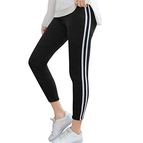 Damen Striped Yogahose Mit Warm Innenfleece Winter Strumpfhosen Print Stretch Lang Slim Fit Yoga Hosen Sport Fitness Laufen Yoga Leggings Frauen Bunt Leggins Sweathose S-XXXL Grau Dunkelgrau Schwarz