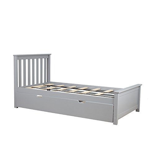 Max & Lily Solid Wood Twin-Size Bed with Trundle Bed, Grey