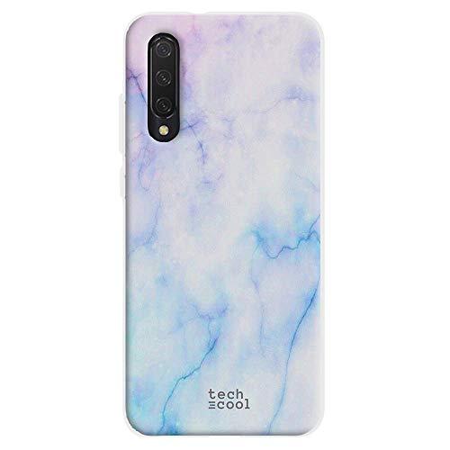 Funnytech® Funda Silicona para Xiaomi Mi 9 Lite [Gel Silicona Flexible, Diseño Exclusivo] Textura marmol Azul